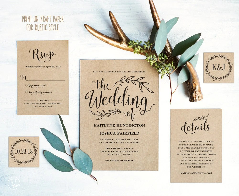 Diy Wedding Invitations With Photo Vintage Wedding Invitation Set Printable Wedding Invitation Template Rustic Wedding Invitation Card Kraft Diy Wedding Vw01