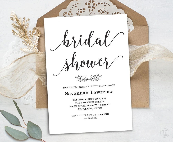 Bridal Shower Template Printable Bridal shower Invitation Etsy