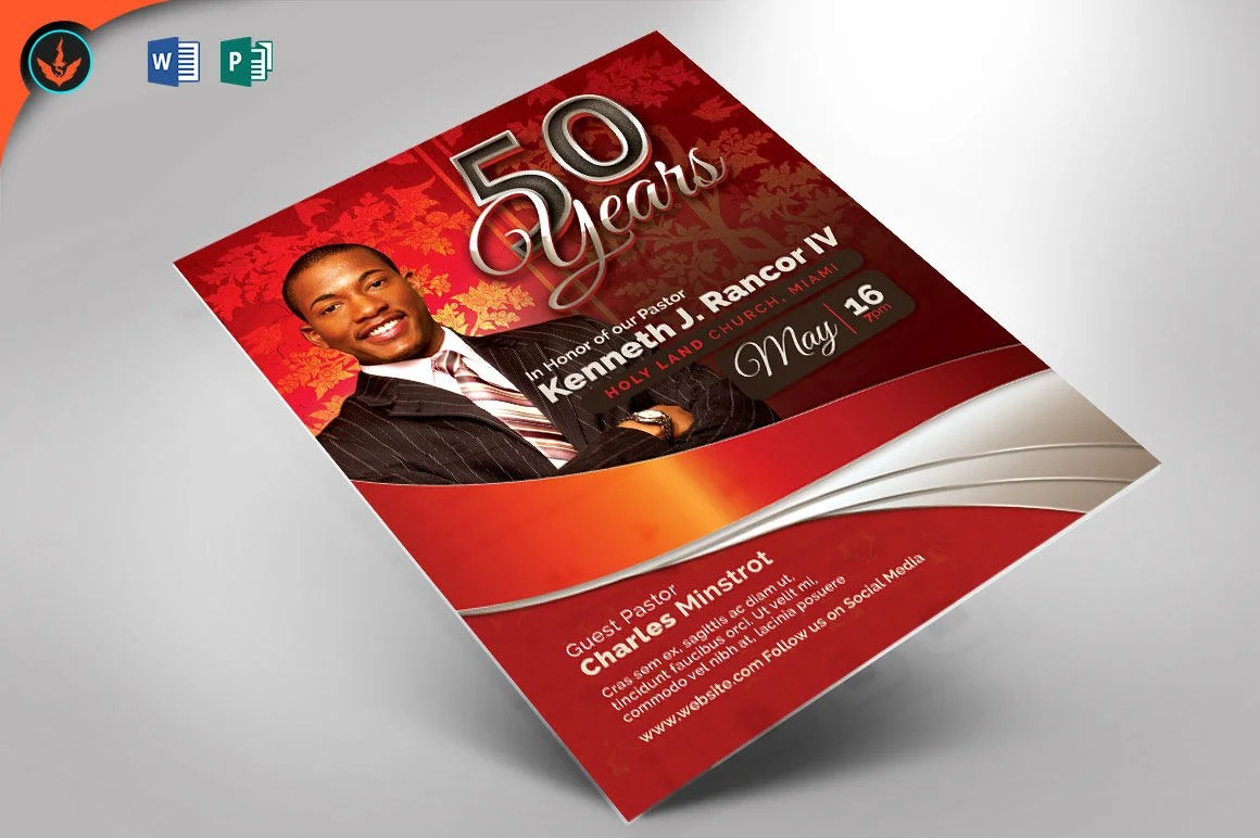 Crimson Pastors Anniversary Church Flyer Publisher and Word Etsy