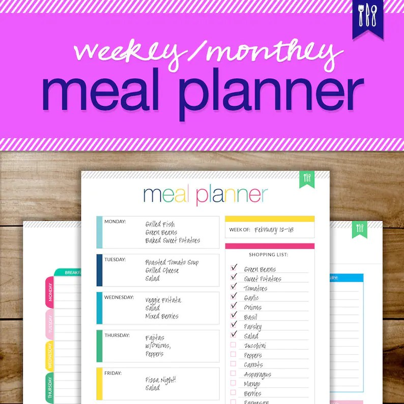 Monthly Menu Planner Meal Planning Daily Meal Planner Etsy