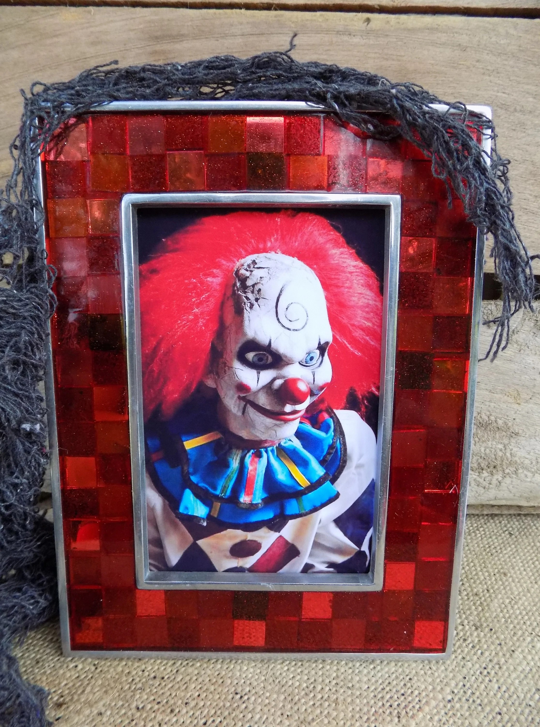 Wanddeko Clown Creepy Clown Image Framed Art Digital Image Clown Phobia Circus Clown Creepy Clown Classic Horror Collectible Horror Movie Mosaic Frame Cool