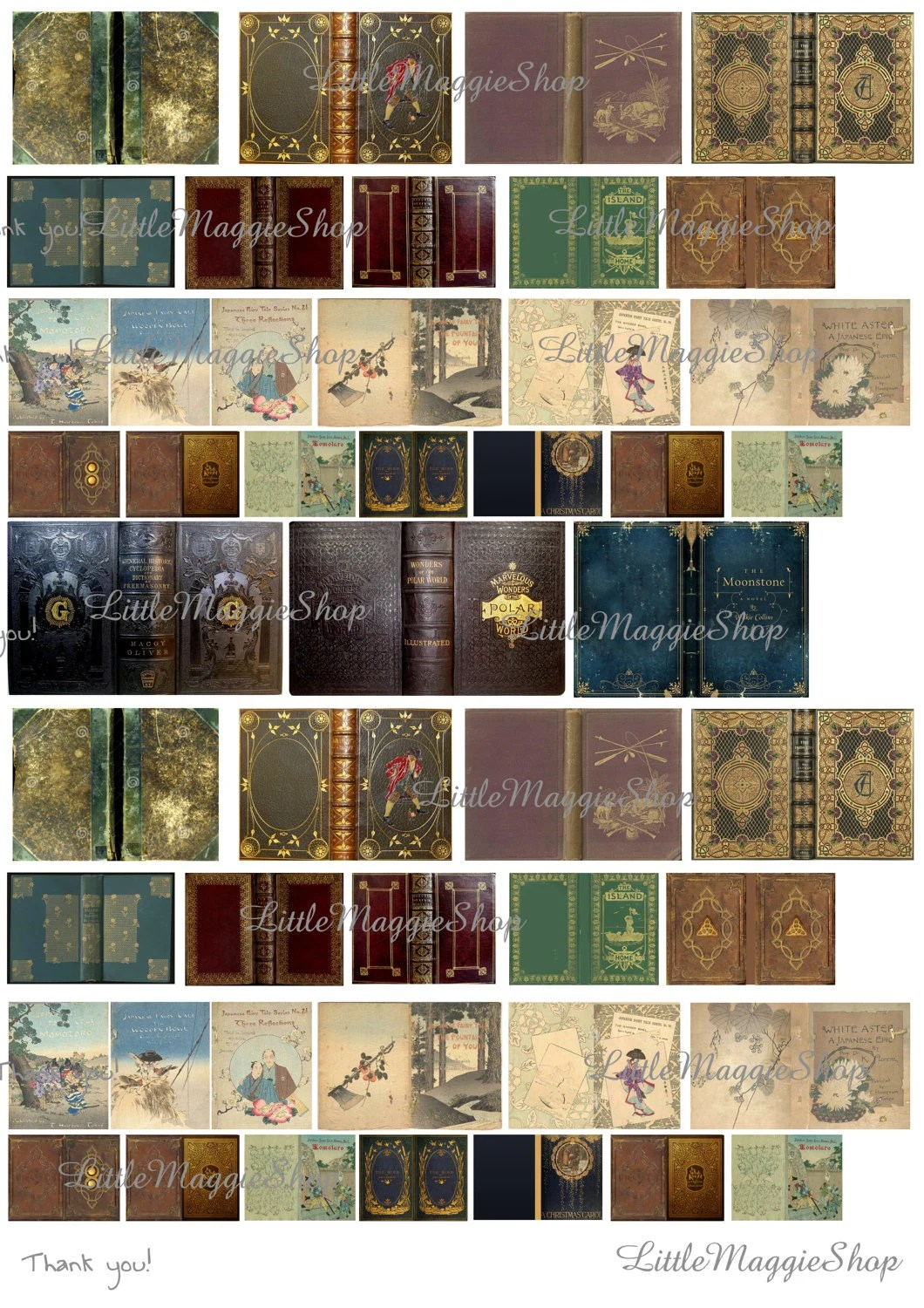 Vintage Magic Book Covers Set 112 scale downloadable Etsy