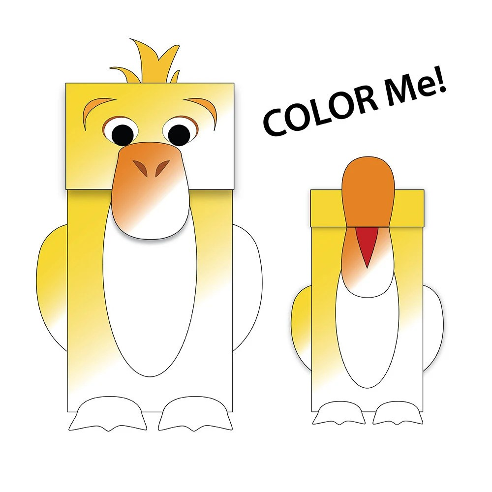 Duck Paper Bag Puppet BLANK Coloring Version Downloadable Etsy