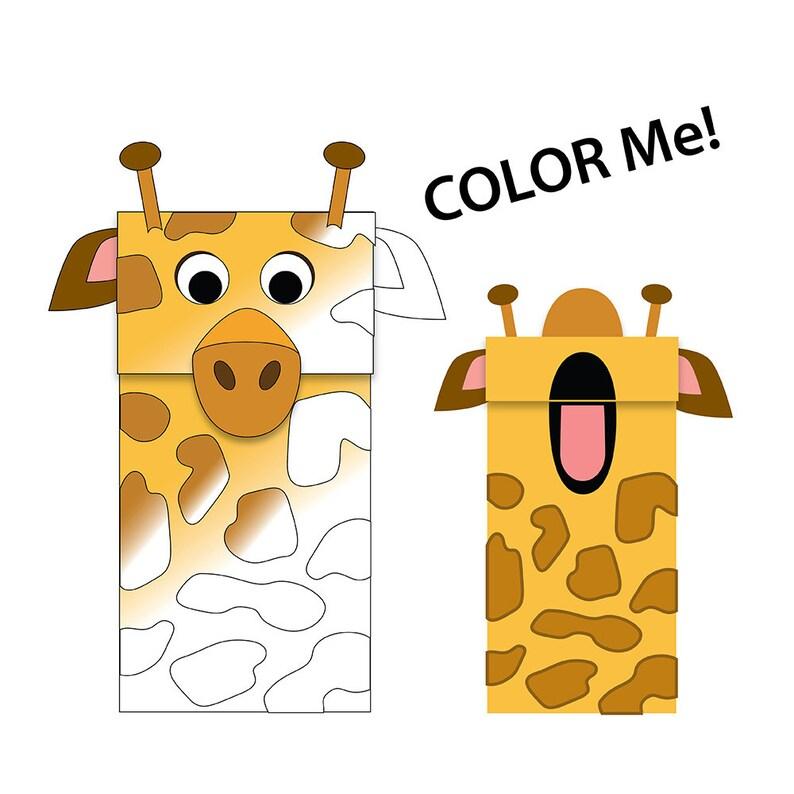 Giraffe Paper Bag Puppet Black  White for Coloring Etsy
