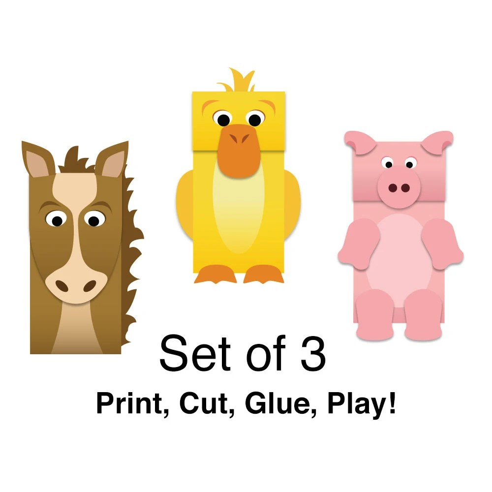 Farm Animals Paper Bag Puppets FULL COLOR Downloadable Etsy