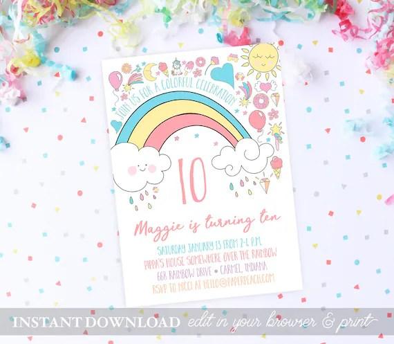 Rainbow Birthday Party Invitations INSTANT DOWNLOAD Birthday Invites