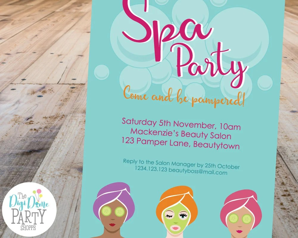 Spa Party Printable Invitation Template, 5x7in - Mint and Pink