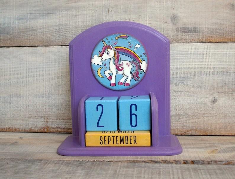 Perpetual calendar wooden block Desk Calendar with colorful Etsy