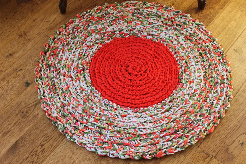 Rag Rug Red Green And White Rag Rug 29 Crocheted Etsy