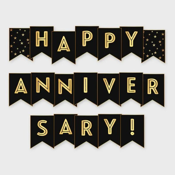 Black  Gold Printable Happy Anniversary Banner Anniversary Etsy
