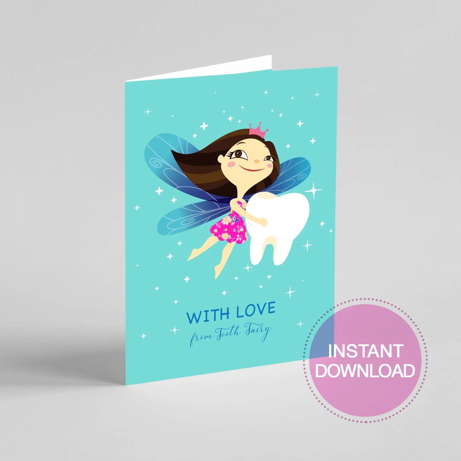 Printable Tooth Fairy Card Etsy