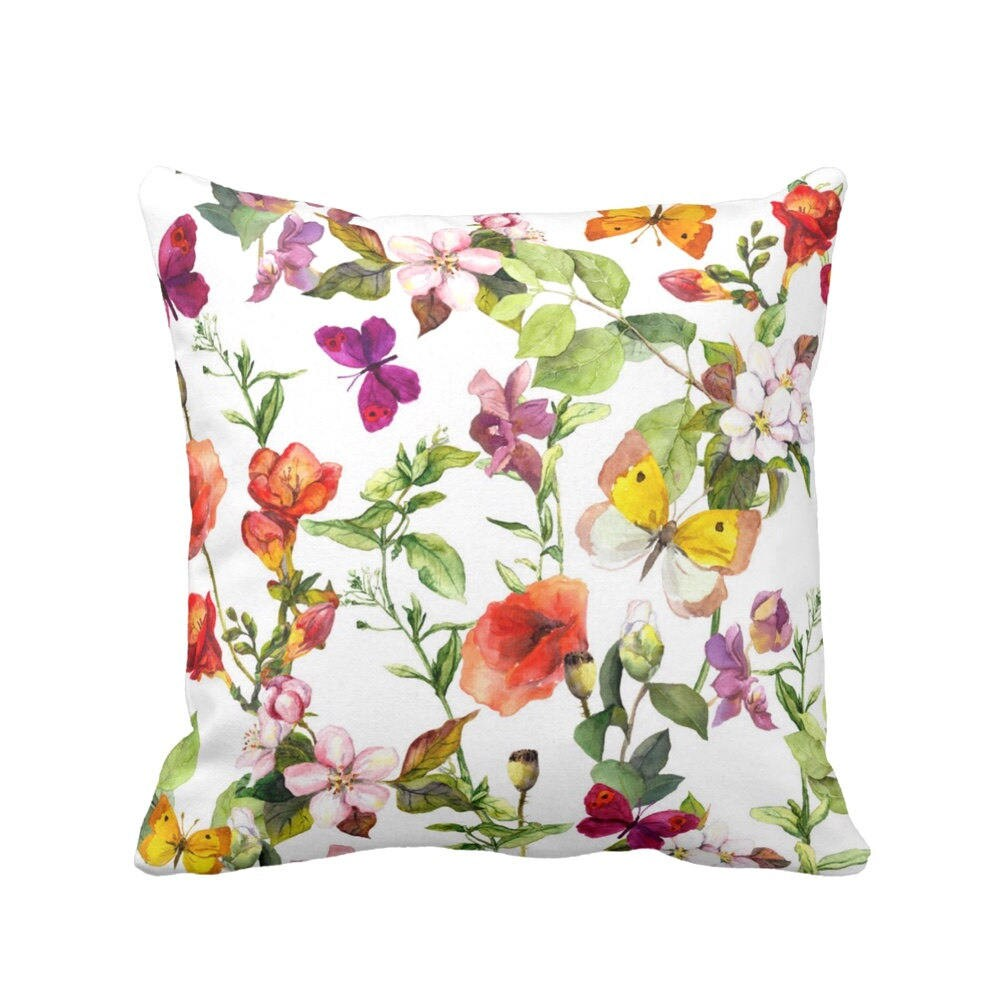Sale Vintage Floral Throw Pillow Colorful Watercolor