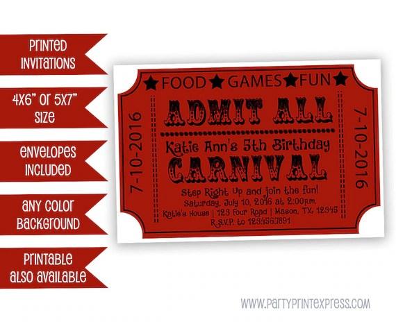 Carnival Ticket Invitations - Carnival Birthday Invitation