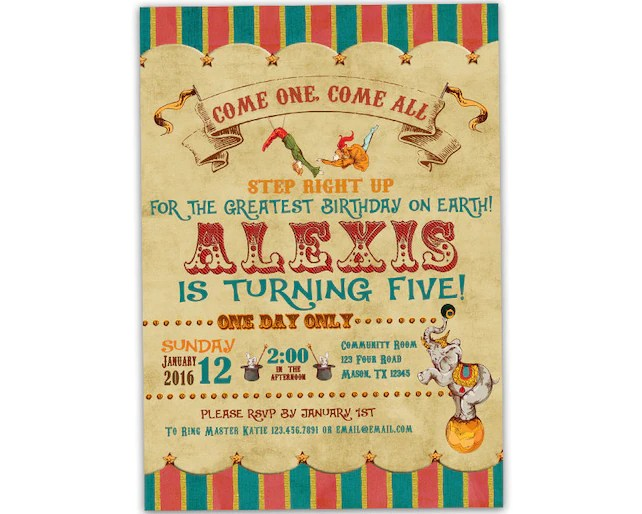 Printable Circus Birthday Invitation - Circus Invite - Vintage