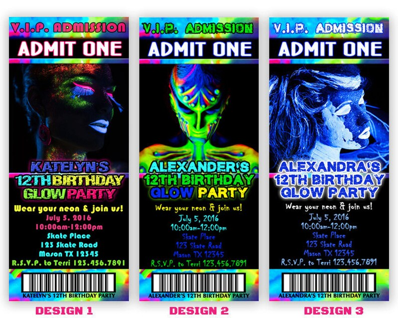 Printable Glow Party Invitation Glow In The Dark Invitation Etsy