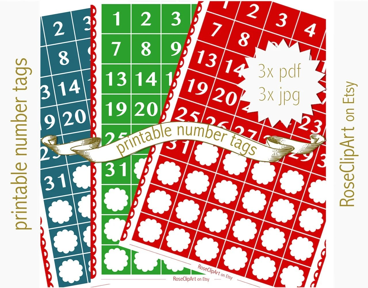 Printable numbers instant download number stickers 1-31 Etsy