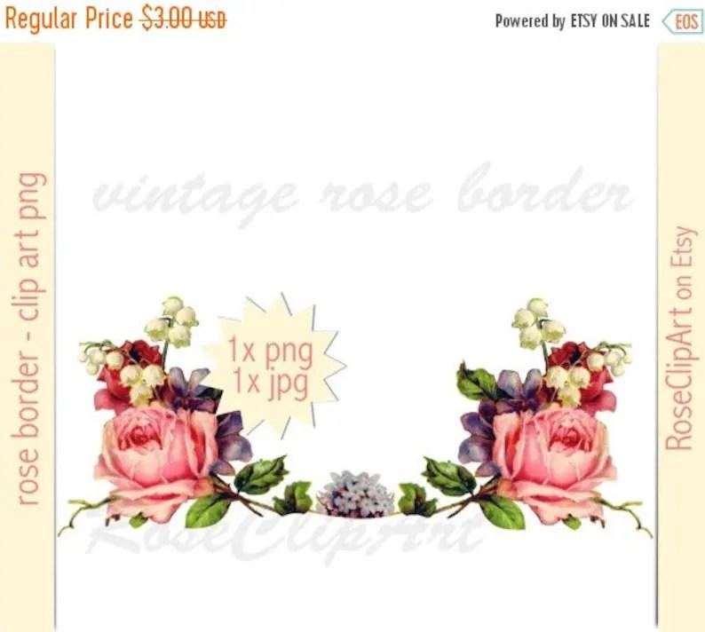 Digital floral border clip art png instant download Etsy