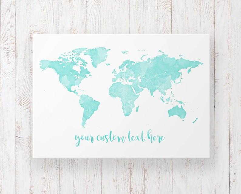 Watercolour Push Pin World Map Wall Art Custom Pinnable World Etsy