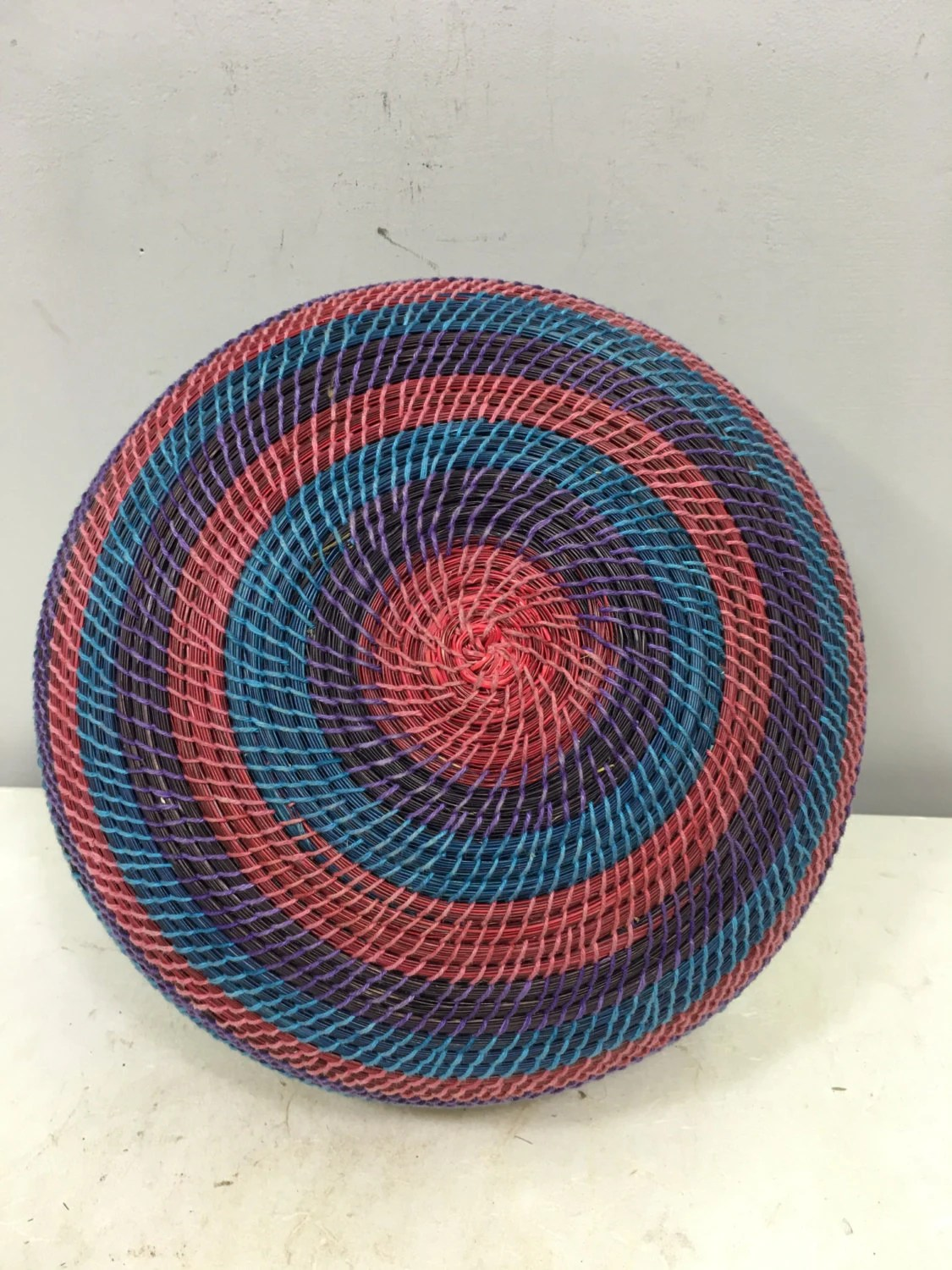 African Woven Hamper Basket African Lesotho Red Blue Purple Woven South Africa
