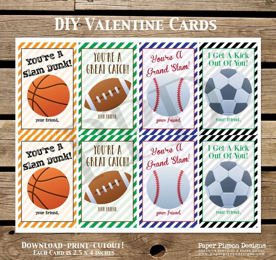 Sports DIY Valentine Cards DIY Valentine Card Printable Etsy