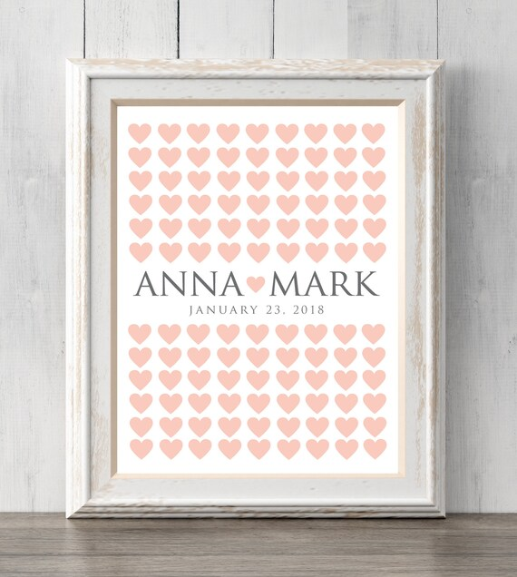 Wedding guest book print Can personalize text and colors Etsy