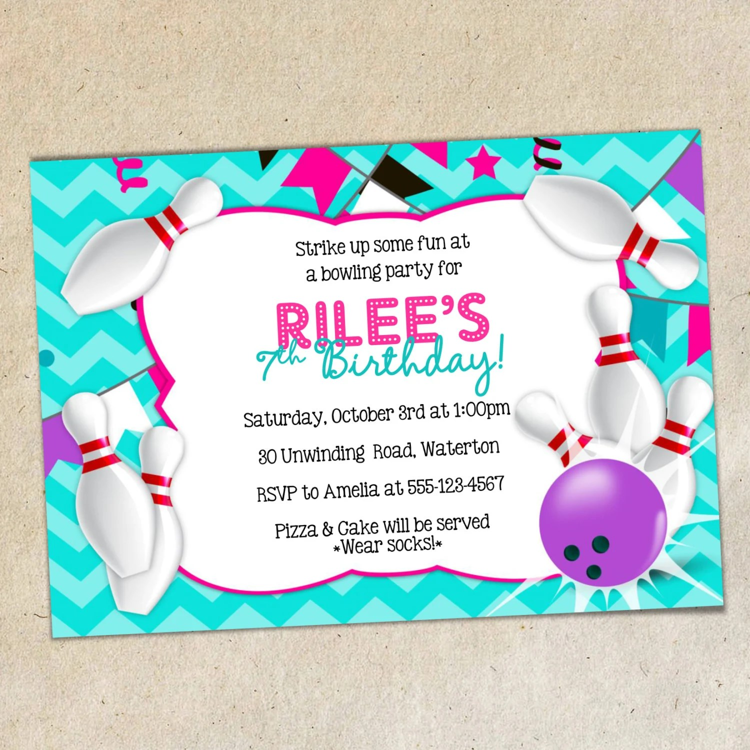 GIRLS Bowling Party Invitation TEMPLATE Girly Chevron Etsy