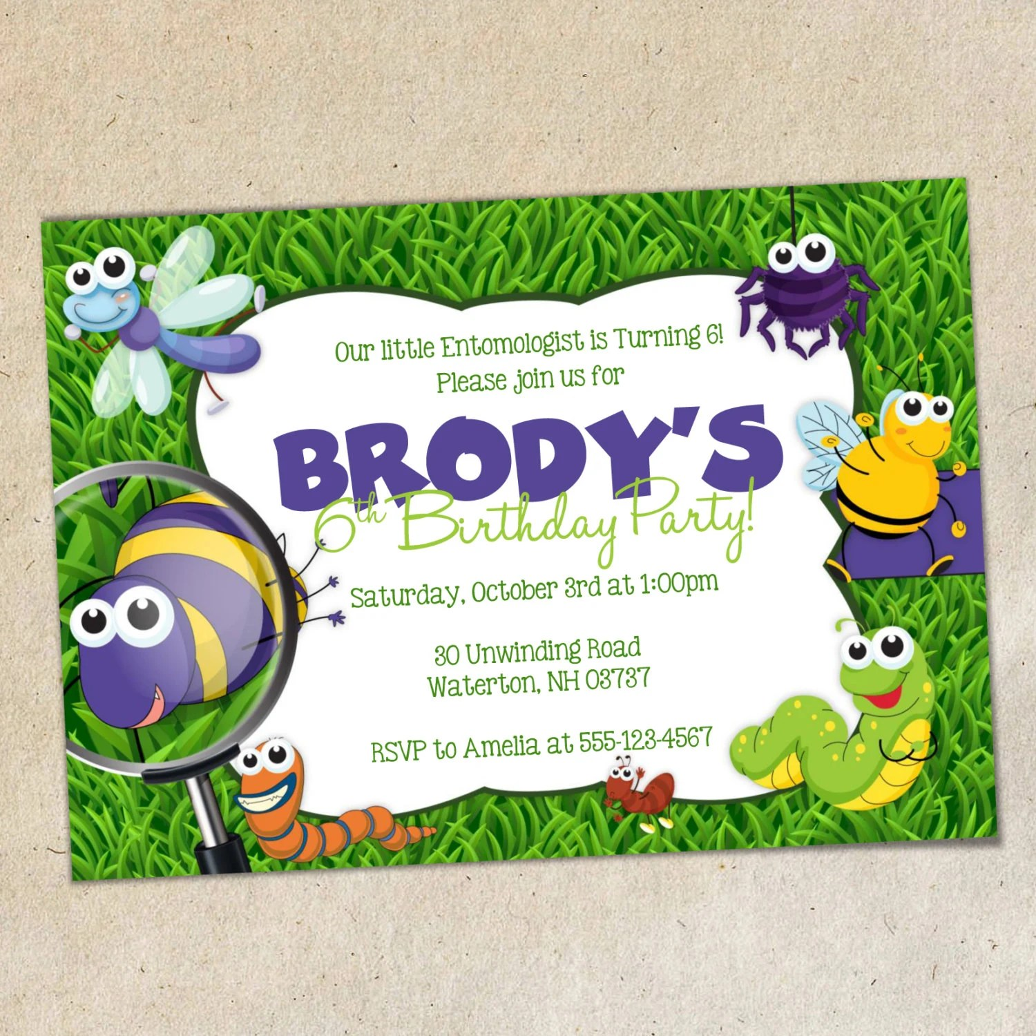 Bugs Party Invitation TEMPLATE Insects / Bug Party Invite Etsy