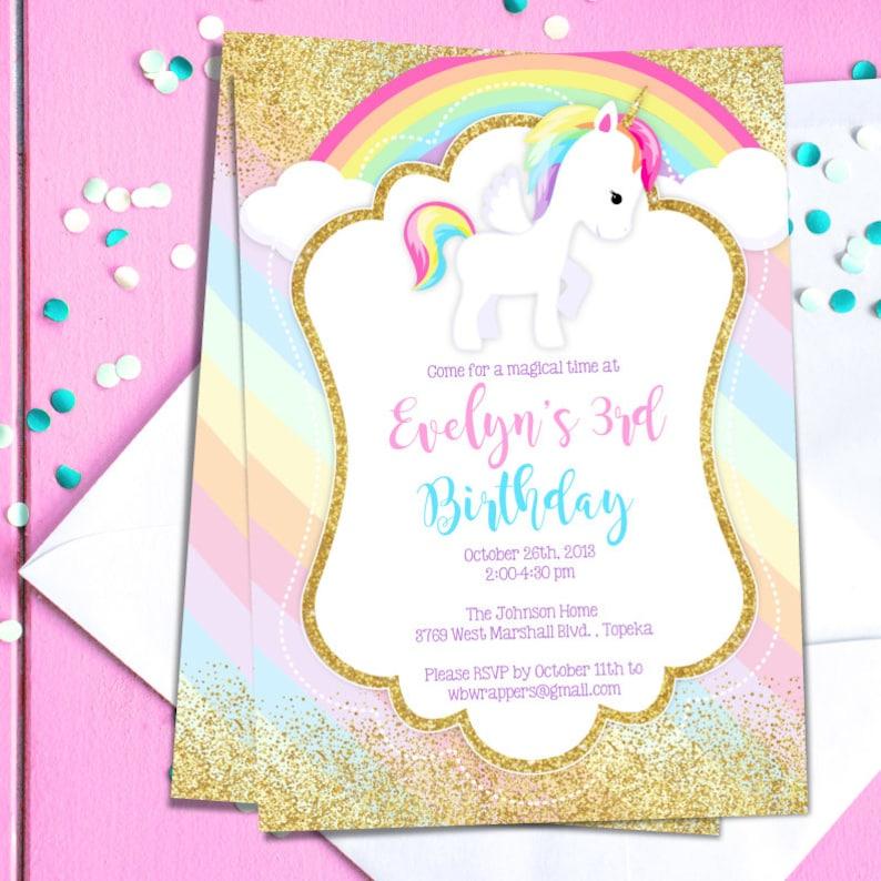Unicorn Birthday Party Invitation TEMPLATE Pastel Rainbow Etsy