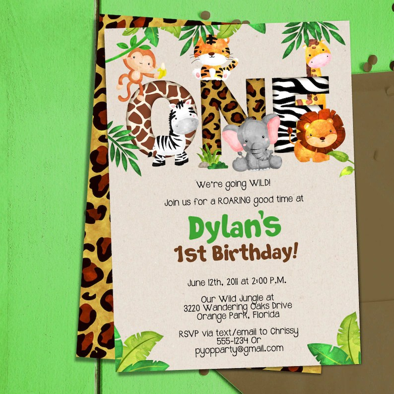 Jungle 1st Birthday Party Invitation Template Jungle Animals Etsy