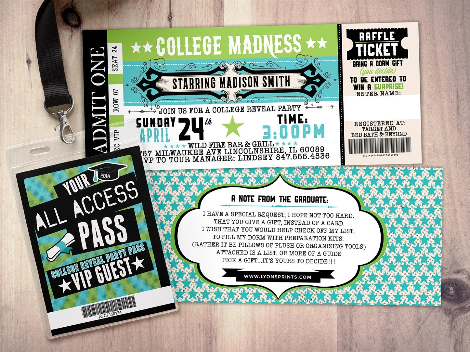 College reveal party Concert ticket graduation party Etsy