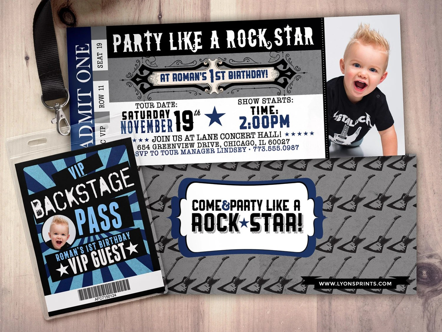 ROCK STAR concert ticket birthday party invitation Music Etsy