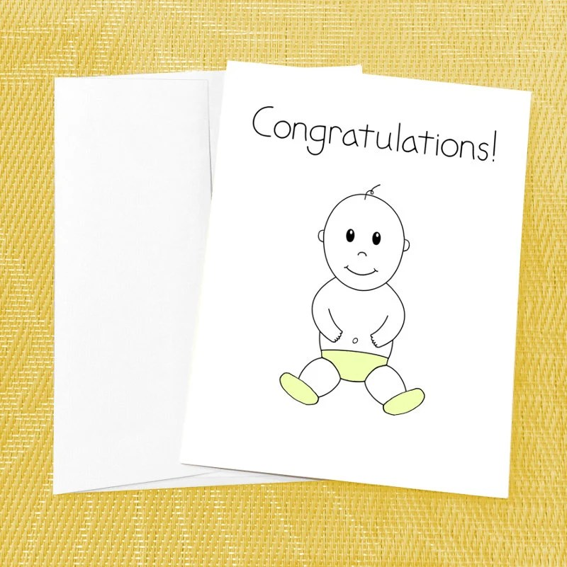 Cute Baby Card Cute Baby Shower Card Congratulations New Etsy