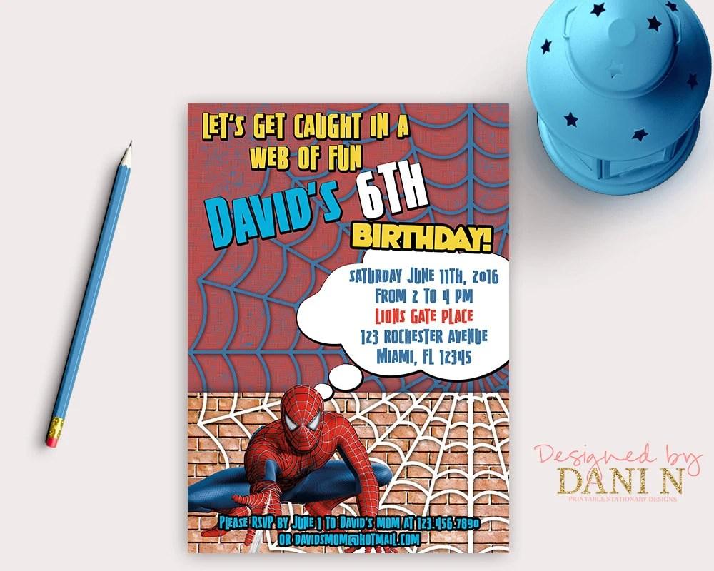 Super Heroes Birthday Invitation, Spiderman party, spider man invite