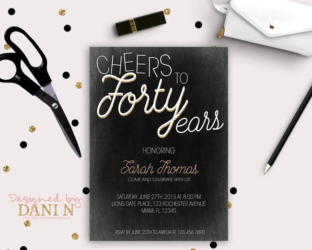 40th Birthday Invitation, elegant black and gold invite, vintage