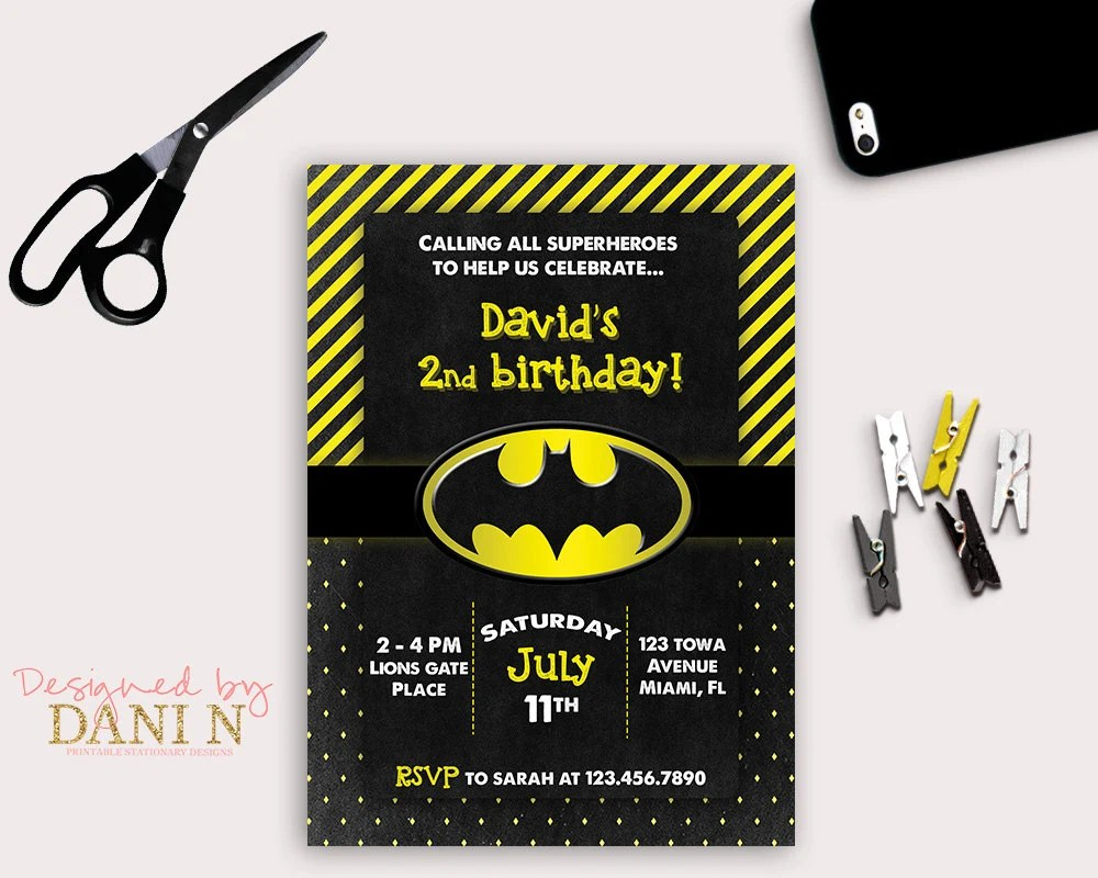 Batman Birthday Party invitation, black and yellow printable invite