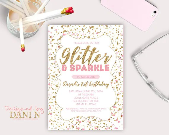 Glitter and Sparkle Birthday Party INVITATION, Pink Polka Dots