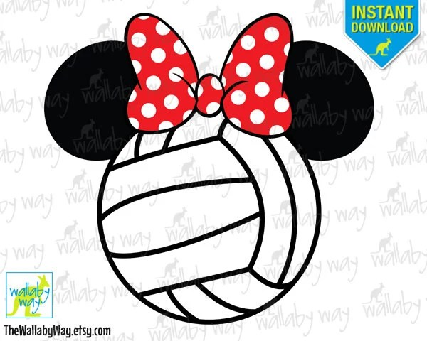 Volleyball Minnie Mouse Ears with Bow Printable Iron On Etsy