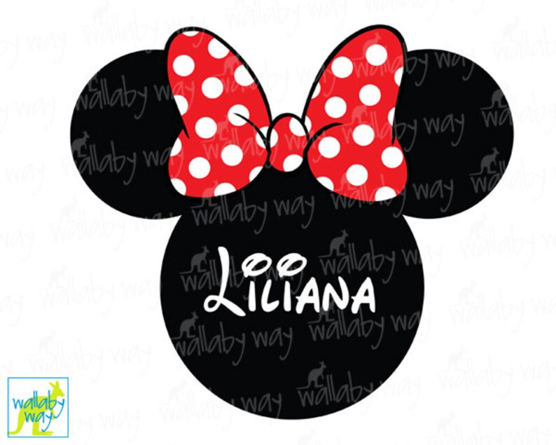 Minnie Mouse Ears Printable Iron On Transfer Red Bow DIY Etsy