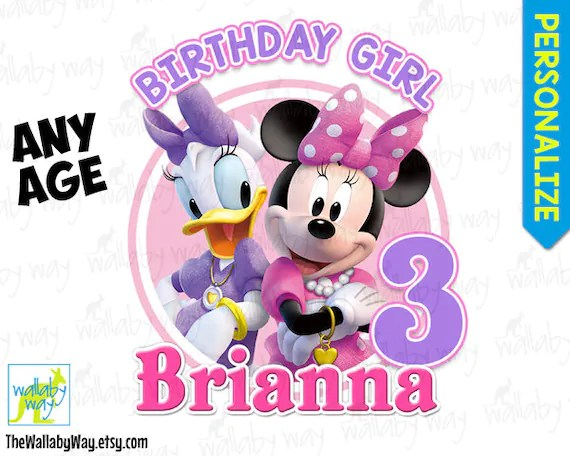 Minnie  Daisy Duck Birthday Printable Iron On Transfer or as Etsy