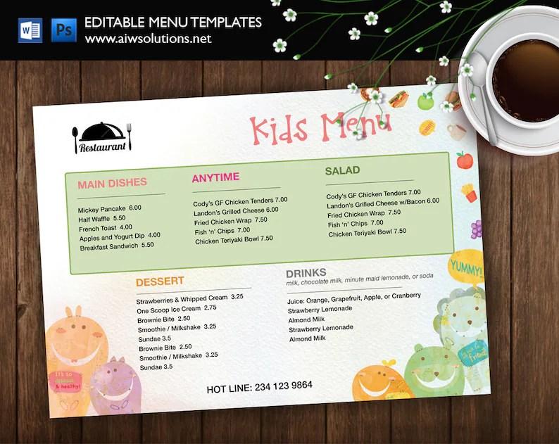 Kids\u0027 Meal Menu Kids Menu monster kid menu Etsy