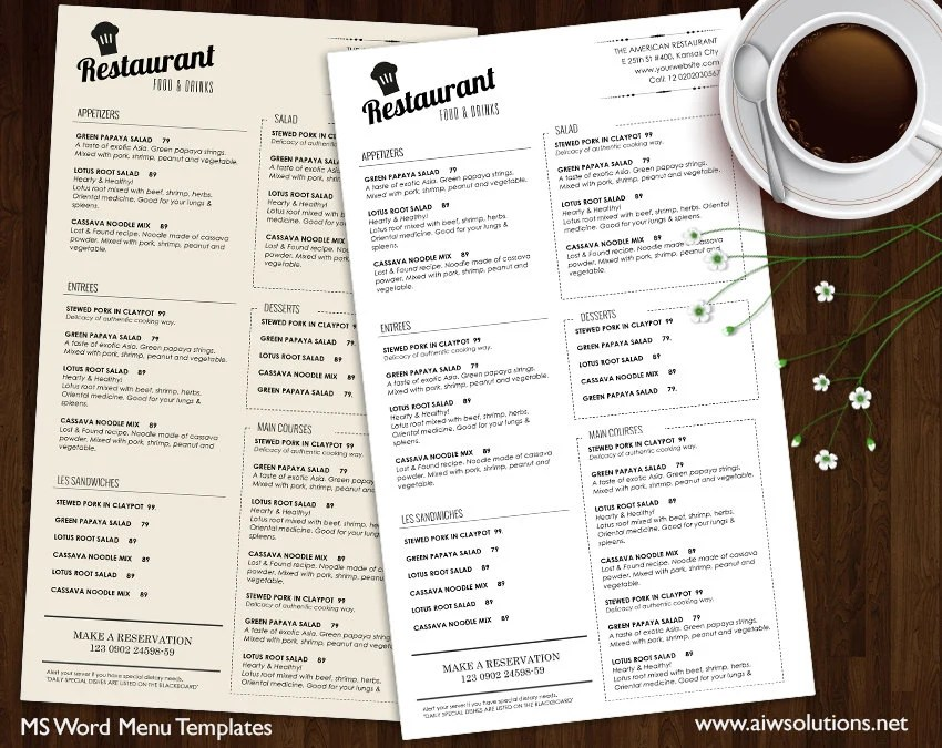 Food Menu Templates Printable Restaurant Menu Template