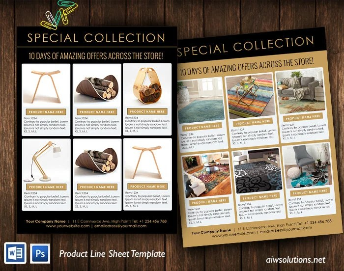 Line sheet template product look book mini product brochure Etsy