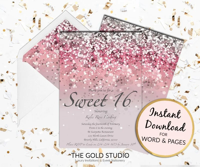 Sweet 16 invitation Pink Glitter Sweet Sixteen 16th Birthday