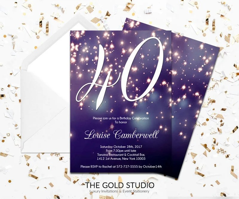 40th Birthday Invitation Blue Purple Sparkle Glamorous modern 40