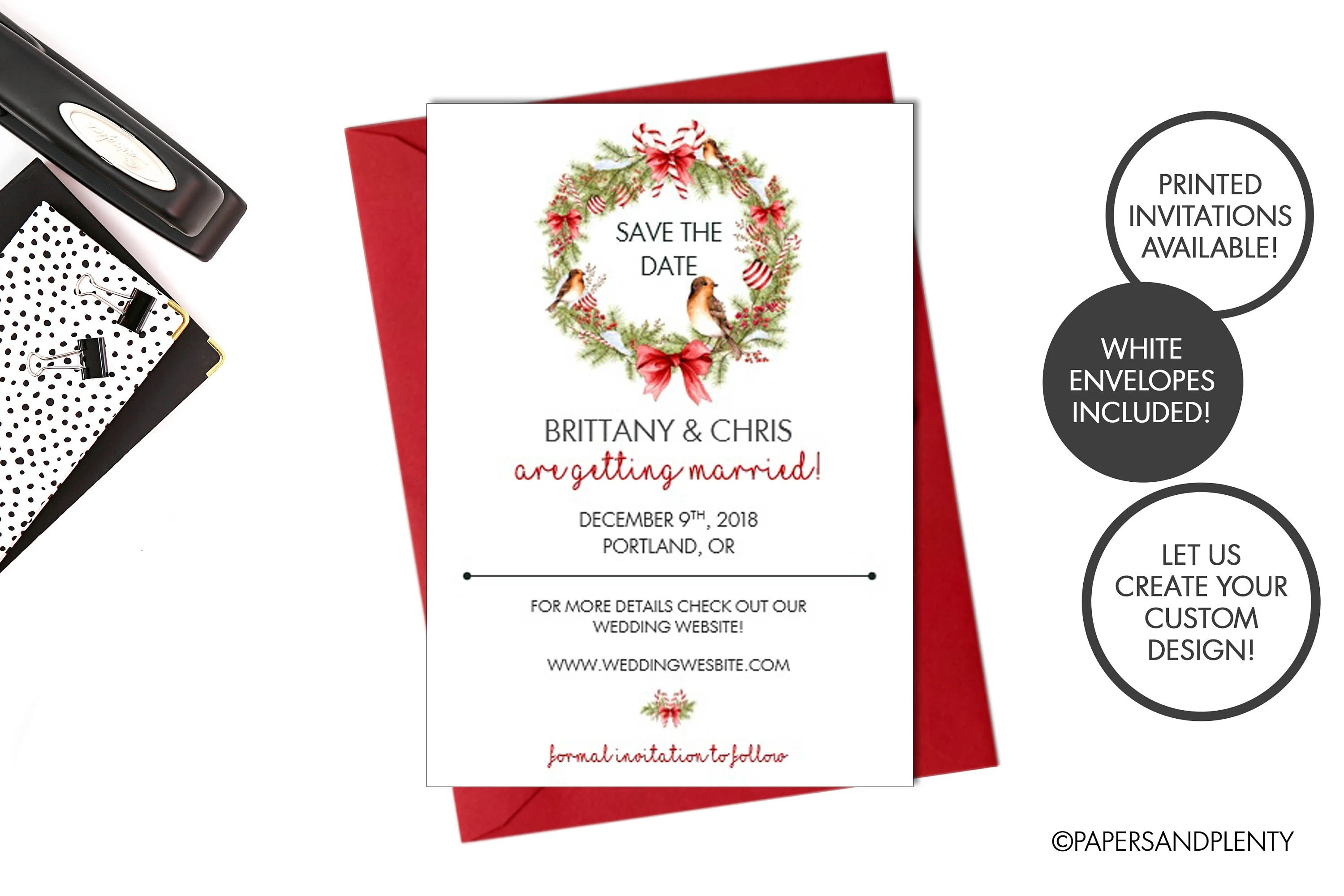 Digital or Printed Winter Wedding Save the Date Christmas Etsy
