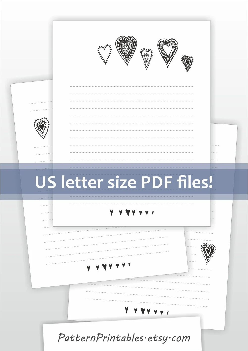 Printable lined letter writing paper Cute black and white - lined letter writing paper
