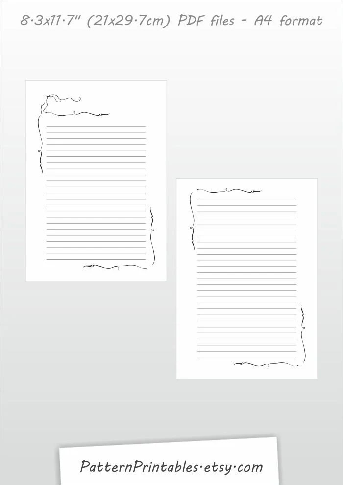 Download for A4 size lined letter writing paper Printable pdf file