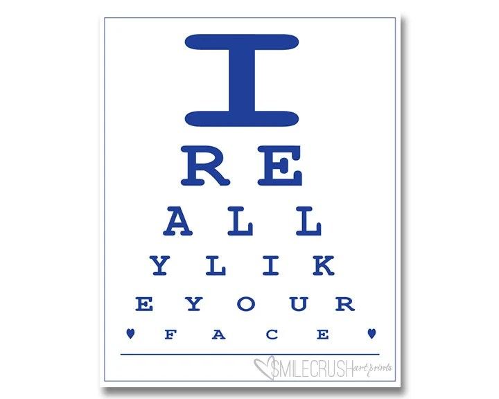 Eye Test Art Print Eye Chart Printable Funny Quote Printable Etsy