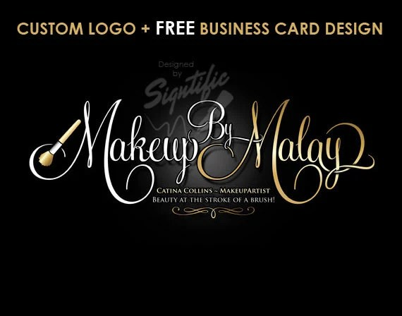 Makeup Artist Logo Free Business Card Design Custom Makeup Etsy