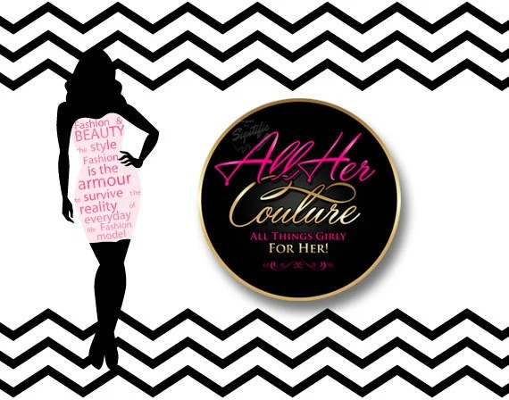 Fashion Couture Logo Design Round Text Logo in Pink and Gold Etsy
